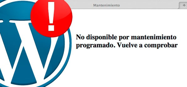 Error de WordPress. No disponible por mantenimiento