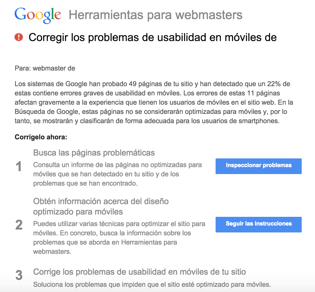 google movil penalizacion